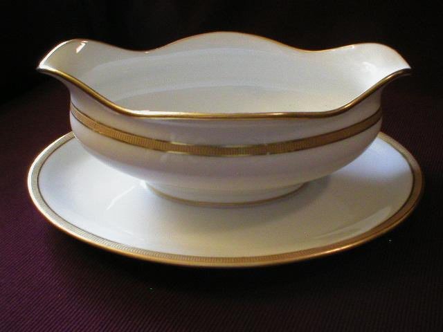 Wm Guerin Limoges Gold Encrusted Gravy w/attached Underplate