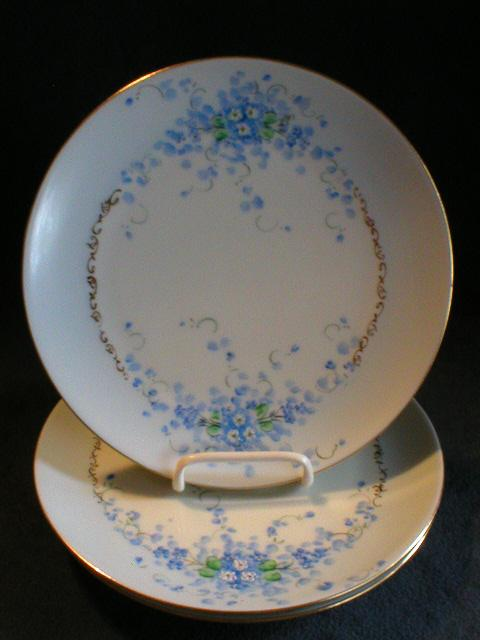 "Set of 3 Luken Studio H.P. China ""Forget-Me-Not"" Pattern Salad/Dessert Plates"