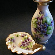 Tolpin Studio Hand Painted Vase & Pin Tray w/Violet Floral
