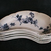 "Set of 6 -  Alfred Meakin Blue transfer ""Clifton"" Bone Dishes"