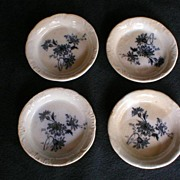 "Set of 4 - Alfred Meakin Blue Transfer ""Clifton"" Butter Pats"