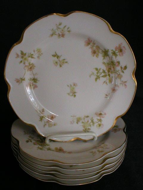 "Set of 6 - Haviland China ""Poppy"" Luncheon Plates"