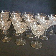Set of 12 - Clear English Hobnail Champagne/Tall Sherbets