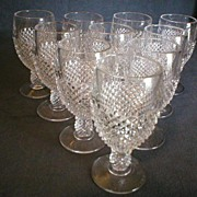 Set of 10 - Clear English Hobnail Champagne Glasses w/Ball Stem