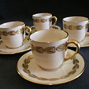 "Set of 4 - Lenox China ""Antoinette"" Pattern Demi-Tasse Cups & Saucers"