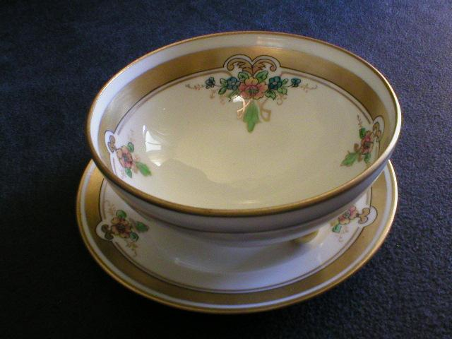 "Pickard Studio Hand Painted ""Russian Flowers"" Series Footed Bowl with Under-Plate"