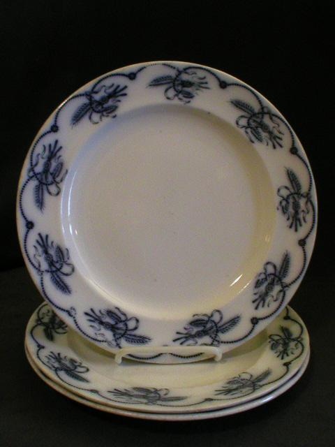 "Set of 3 -  Brown-Westhead, Moore & Co.- Ironstone Blue Transfer Dinner Plates ""Ceres"" Pattern"