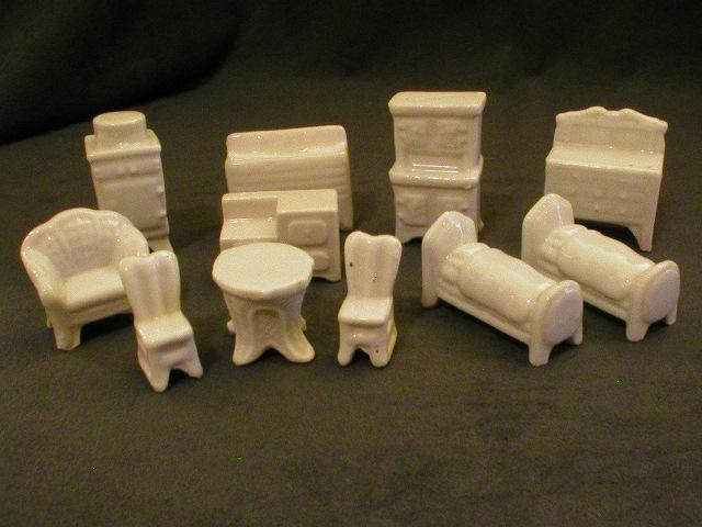 "Early 11-Piece Set  - Porcelain ""Foreign"" Doll House Furniture"