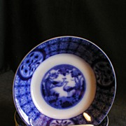 "Set of 6 Johnson Bros Flow Blue ""Mongolia"" Pattern Fruit/Dessert Bowls"