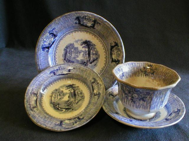 "J. Clementson Ironstone Blue Transferware ""Siam"" Pattern - 4 Pieces"