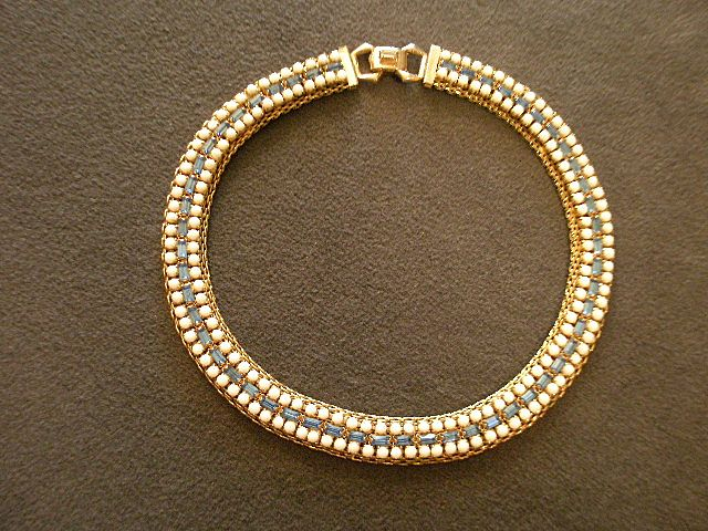 "Vintage Signed ""Hattie Carnegie"" Gold-Tone Mesh Choker with Blue & White Sets"