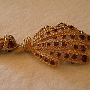 "Vintage Signed ""Hattie Carnegie"" Gold-Tone & Topaz Rhinestone Fan-Shaped Brooch"
