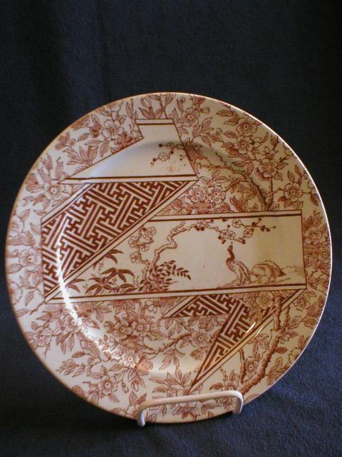 Set of 4 - Doulton & Co. Brown Transfer Aesthetic Pattern Dinner Plates