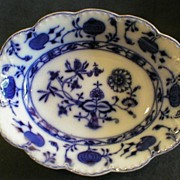 "Johnson Bros Blue Flow ""Holland"" Pattern Oval Open Vegetable Bowl"