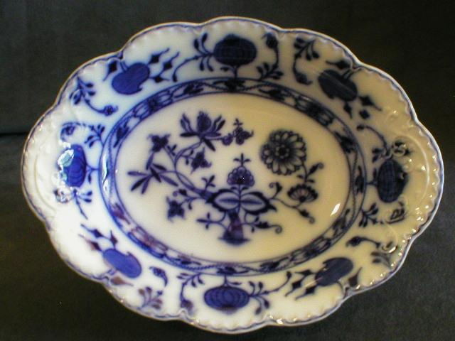 Johnson Bros Blue Flow \ Holland\  Pattern Oval Open Vegetable Bowl  Brys Antiques | Ruby Lane & Johnson Bros Blue Flow \