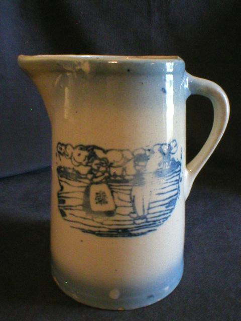 Blue & White Stoneware Tankard Pitcher w/Dutch Scene Design
