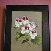 Mission Oak Picture Frame With Floral Oil Painting