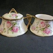 Royal Munich Sugar & Creamer w/Rose Decoration
