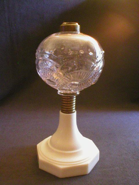 EAPG Kerosene/Oil Lamp Base w/Clear fount & Milk Glass Base
