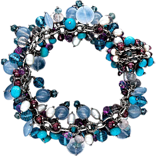 Turquoise, Chalcedony, Topaz, Garnet Sterling Silver Bracelet