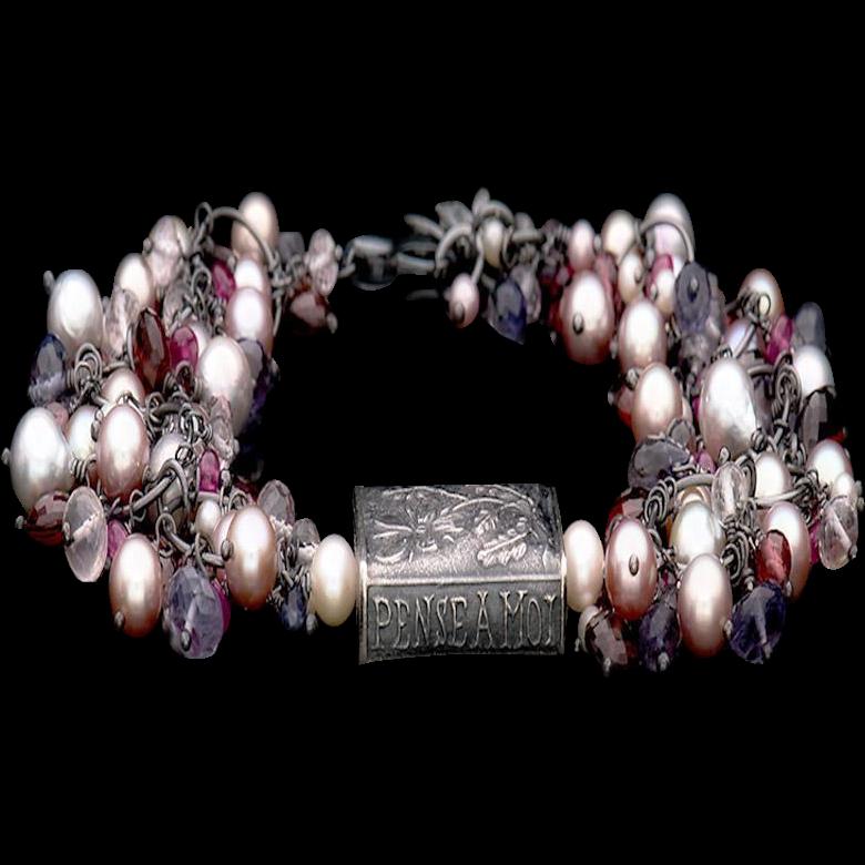Anne Choi, Cultured Freshwater Pearls, Amethyst, Garnet, Iolite, Ruby and Quartz Bracelet