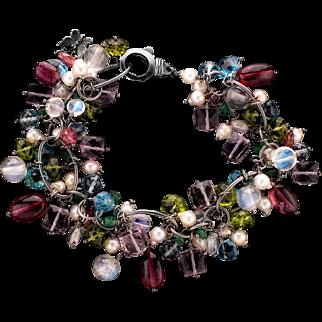 Amethyst, Emerald, Moonstone, Pearl, Peridot, Topaz, Tourmaline Sterling Silver Bracelet