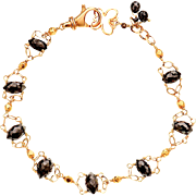 Over 14ct Natural Black Diamond 14K & 18k Solid Gold One Of A Kind Bracelet