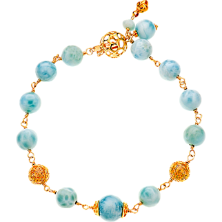 Larimar, 14k, 18k and 22k Yellow Gold Bracelet