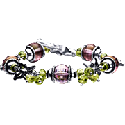 Amethyst and Peridot Sterling Silver 925 Bracelet