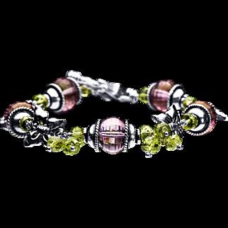 Amethyst and Peridot Sterling Silver 925 Bracelet