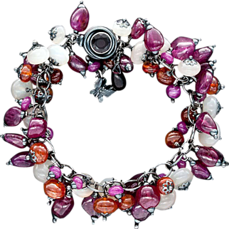 Ruby, Moonstone and Garnet Bracelet Sterling Silver
