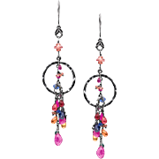 Sapphire and Sterling Silver Long Dangle Earrings