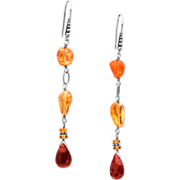 Fire Opal Sterling Silver Dangle Earrings