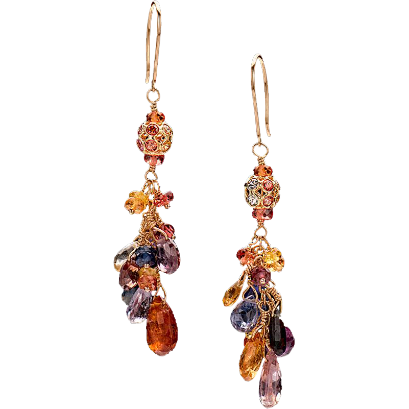 Multi-Colored Sapphire 18K Gold Dangle Earrings