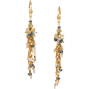 Fine White and Canary Diamonds, Santa Maria Aquamarine, Pearl and Yellow Gold Dangle Earrings