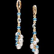 South Sea Pearl and Swiss Topaz 14k Yellow Gold Dangle Earrings