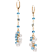 South Sea Pearl and Swiss Topaz 14k Yellow Gold Dangle Earrings