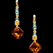 18K Gold Citrine Apatite Dangle Earrings
