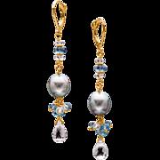 Cultured Tahitian Pearl, Emerald and 18k Yellow Gold Dangle Earrings