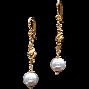 South Sea Pearl 14k and 18k Gold Dangle Earrings