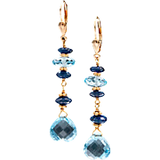 Sapphire and Blue Topaz Yellow Gold Earrings