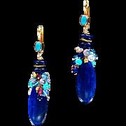 Lapis, Moonstone, Opal, Sapphire, Topaz and Turquoise 18k Gold Dangle Earrings