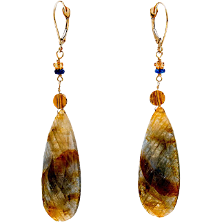 Sapphire 18K Yellow Gold Dangle Earrings