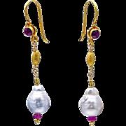 South Sea Pearl and Ruby 18k Gold Dangle Earrings