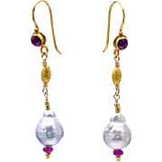 South Sea Pearl and Ruby 18k Gold Dangle Earrings