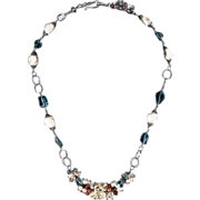 Moonstone, Freshwater Pearl, Tourmaline Topaz Sterling Silver Necklace