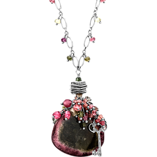 Tourmaline and Key Sterling Silver Necklace