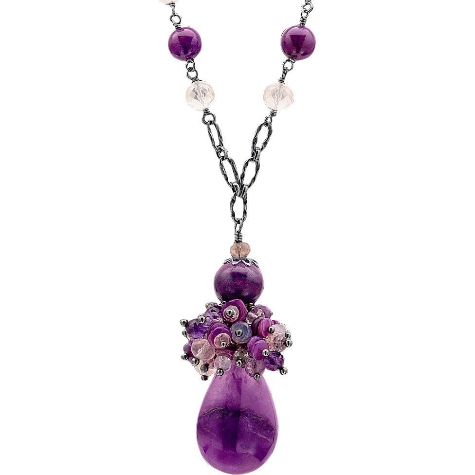 sugilite opal quartz and spinel sterling silver necklace