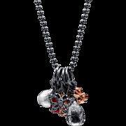 Oregon Sunstone, Quartz, Ruby, South Sea Pearl and Pave Diamond Sterling Silver Necklace
