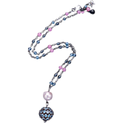 Blue Topaz, Sapphire, and  Freshwater Pearl Sterling Silver Necklace